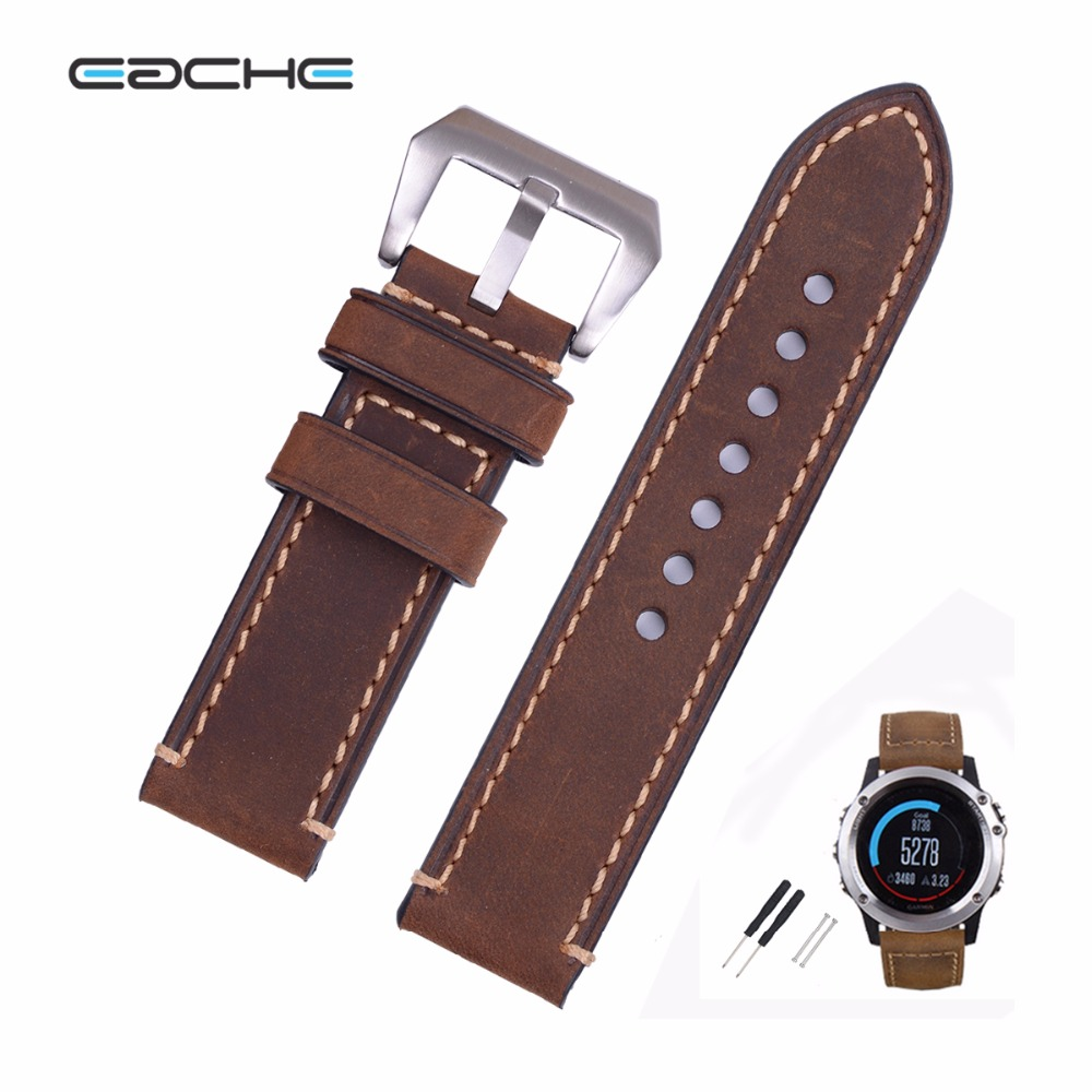 EACHE 26mm Hand Made Crazy Horse Genuine Leather Replacement Watch Band Strap Fit For Garmin Fenix 3 Silver Black Buckle eache 20mm 22mm 24mm 26mm genuine leather watch band crazy horse leather strap for p watch hand made with black buckles
