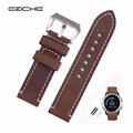 EACHE 26mm Hand Made Crazy Horse Genuine Leather  Replacement Watch Band Strap Fit For Garmin Fenix 3  Silver  Black Buckle