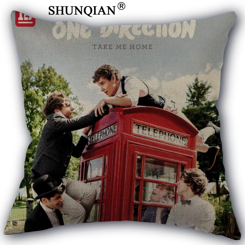 Custom Pillow Cover one direction Home textile Square 45X45cm Decorative Cotton Linen Pillowcase