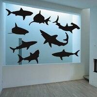 BATTOO כריש גדול מדבקות קיר סט של תשע כרישי כריש מדבקות הקיר ויניל דקור מדבקת פוסטר תפאורה החוף
