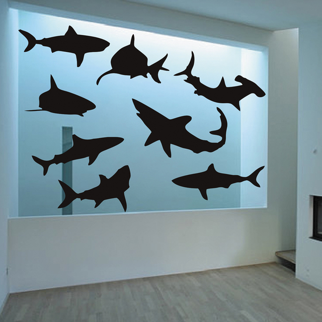 BATTOO Shark Large Wall Decals Set Of Nine Sharks Sticker Beach Decor  Poster Shark Decor Vinyl