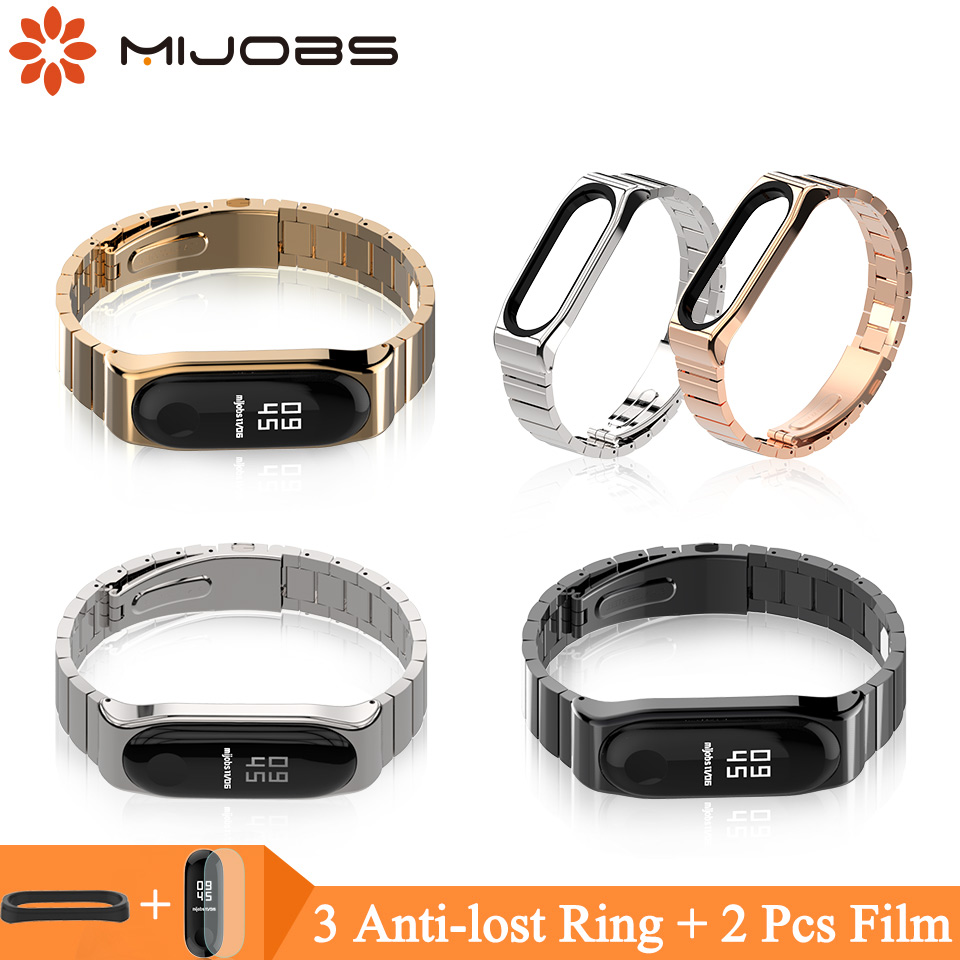 Mijobs Mi Band 3 Strap Metal for Xiaomi Mi Band 3 Stainless Steel Bracelet MiBand 3 Wristbands Replace Mi Band 3 Wrist Strap mijobs mi band 3 metal strap for xiaomi mi band 3 bracelet wristband smart watch bracelet stainless steel correa mi band 3 strap