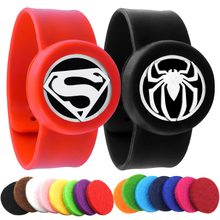 Superman Spiderman Anak Adjustable Nyamuk Bangle Diffuser Minyak Esensial Gelang Pria Wanita Gelang Silikon(China)