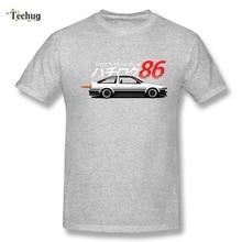 Cartoon Design AE86 Car Tee Shirt Man Popular 3D Print For Man 100% Cotton Top Tees cartoon print top