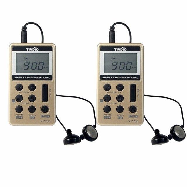 2 шт. TIVDIO V-112 Мини Pocket Radio FM AM 2 Группа Радио Многополосный Радио Приемник Аккумулятор и Наушники лучший F9202