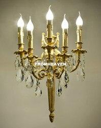 Darmowa wysyłka antyczne żółty brązowy kryształ kinkiety ścienne lampy światła oprawa dla sypialnia pokój dzienny kryształ uchwyt ścienny światło