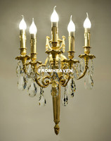 Free Shipping Antique Yellow Bronze Crystal Wall Sconces Lamp Light Fixture for Bedroom Living Room Crystal Bracket Wall Light