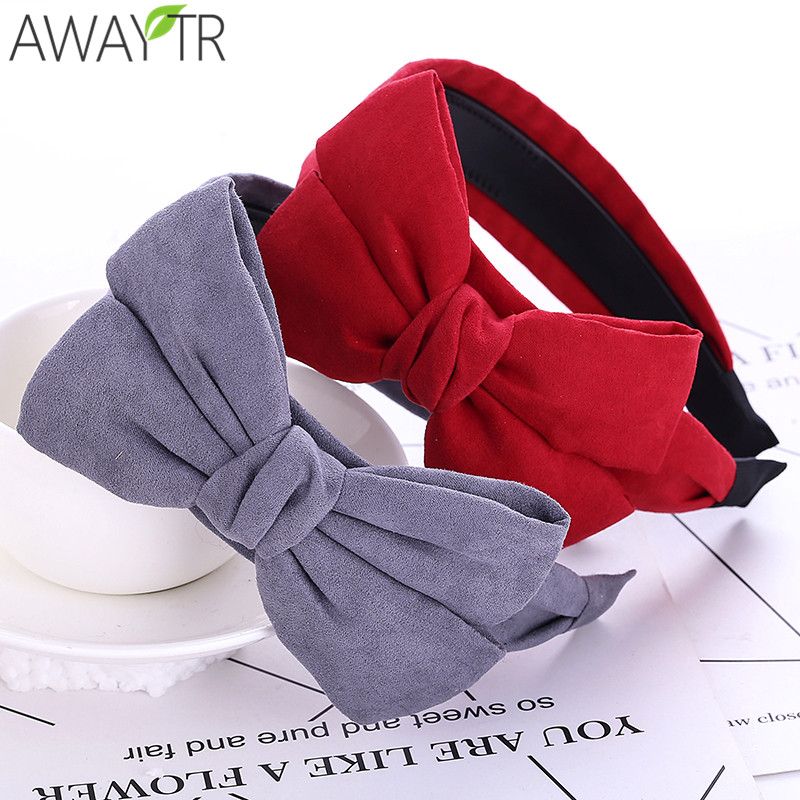 Big Bow Wide HairbandsSimple Solid Color Hair Hoop Headband Fashion Women Girls Head Band   Headwear   Elegant Hair Accessories
