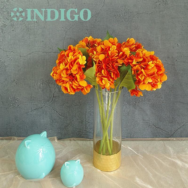 Wholesale Flowers For Weddings Events: INDIGO Wholesale 100pcs Orange Hydrangea Display Hydrangea