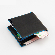 Leather mens luxury wallet, made of faux leather, thin double credit card holder, business wallet