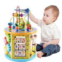 Montessori For Kid Children's Educational Toys Wooden Toys Activity Cube Learning Beads Wire Maze Game Center For Kid Gift