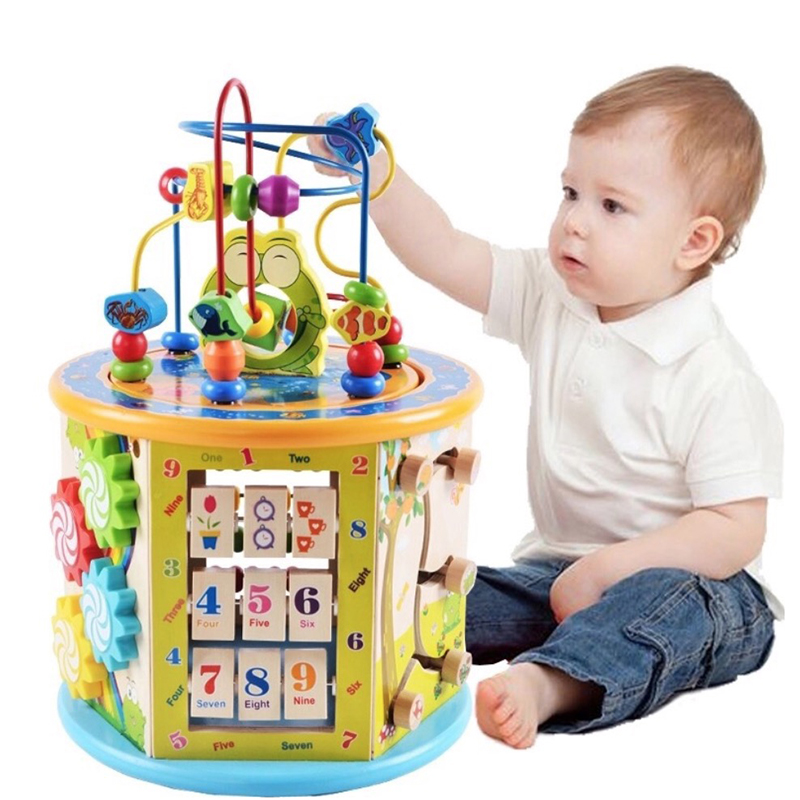 Montessori For Kid Wooden 8 In 1 Multipurpose Activity Cube Center Toys Educational Bead Maze Early Learning Toy For Kids Gifts