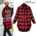 XXXL 4XL 5XL Plus Size Women Blouse 2017 Spring Fashion Back with Letter '37' Printed Long Sleeve Loose Casual Long Plaid Shirts