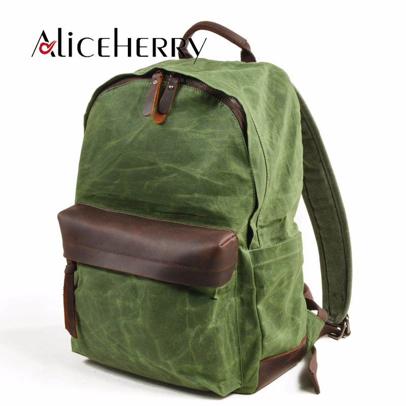 Oil Wax Canvas Backpacks for Women and Men, Classic Vintage Leather Bookbags School Bag College Travel Green Backpack oil wax canvas backpacks for women and men classic vintage leather bookbags school bag college travel green backpack
