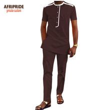 African ankara style pants set for men AFRIPRIDE african print short sleeve single breasted men's cotton pants set A1816003
