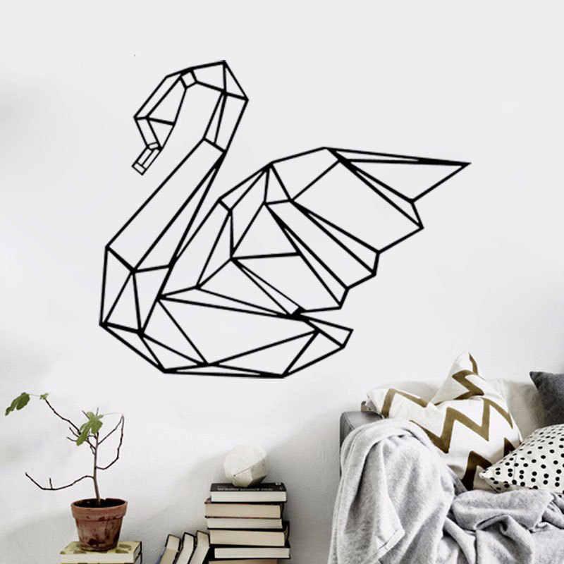 Геометрический Лебедь скандинавские наклейки на стену гостиная спальня декоративные наклейки на стену геометрические переводные наклейки для стен домашний декор T180711