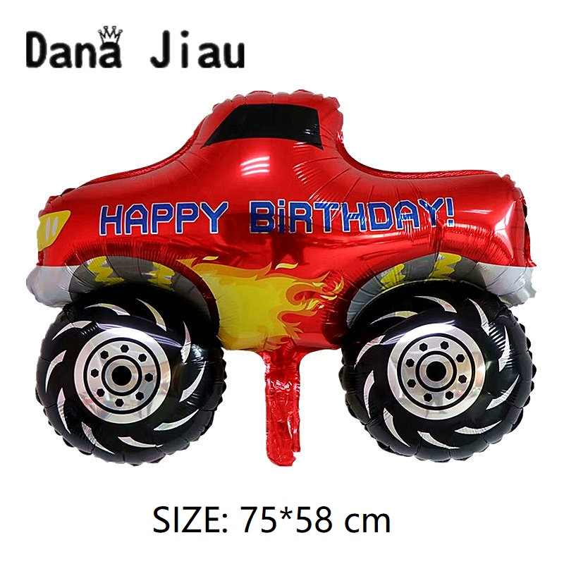 NEW BIG Red Pickup Truck Toy Foil Ballon Happy Birthday Party Decoration Ball Boy Gift Tank Bus Fire Car Holiday Balloons