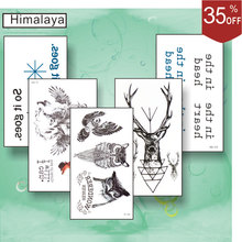 5 Pcs/ Set Temporary Small Tattoos, Non-toxic And Waterproof Fox Wolf Owl Back Foot Hand Tattoo