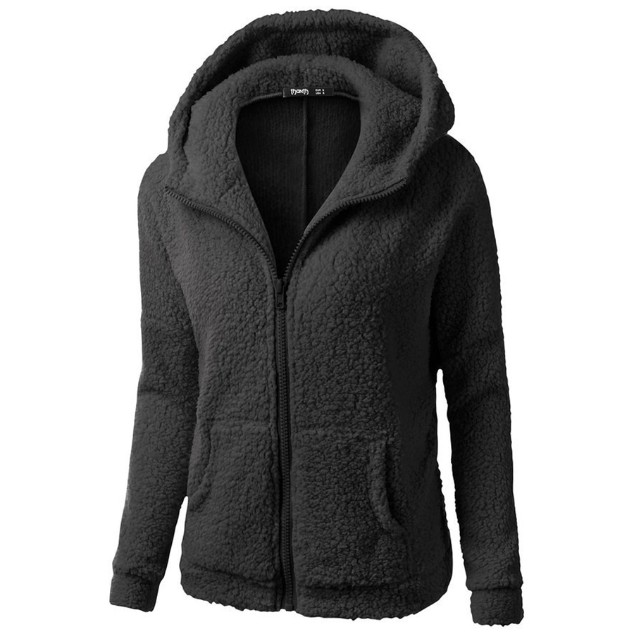 Plus Velvet Warm Solid Cotton Hooded   Parkas   Women Winter Slim High Quality Coat Pockets Zip Plus Size Casual Cotton Womens Coats