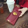 2016 New Fashion Ladies Wallets Genuine Leather Hasp Cow Leather Evening Bag Purses Women Long Clutch Wallet Purse Zipper Poucht