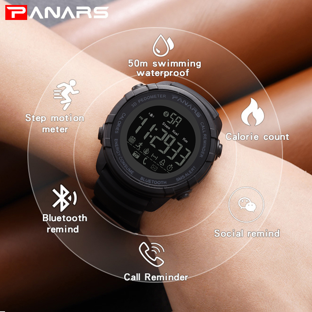 PANARS Bluetooth Smart Watch for IOS Android Wristwatches Men Clock Call Reminder Calorie Digital Pedometer font