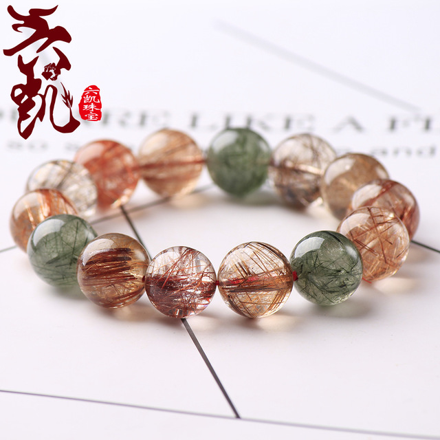 Natural Copper Colorful Rutilated Quartz Crystal Bracelet 5 Colors Woman Man Round Beads 8mm 9mm 10mm 11mm 12mm 13mm 14mm AAAAA in Bracelets Bangles from Jewelry Accessories