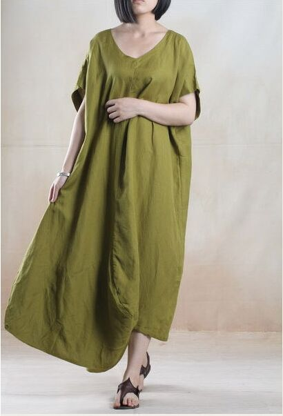 364f94442fc1 2015 Summer Women Maxi Loose Fitting Long Dresses Sundress Short Sleeve Cotton  Linen Dress Casual Black Green khaki Long Dress