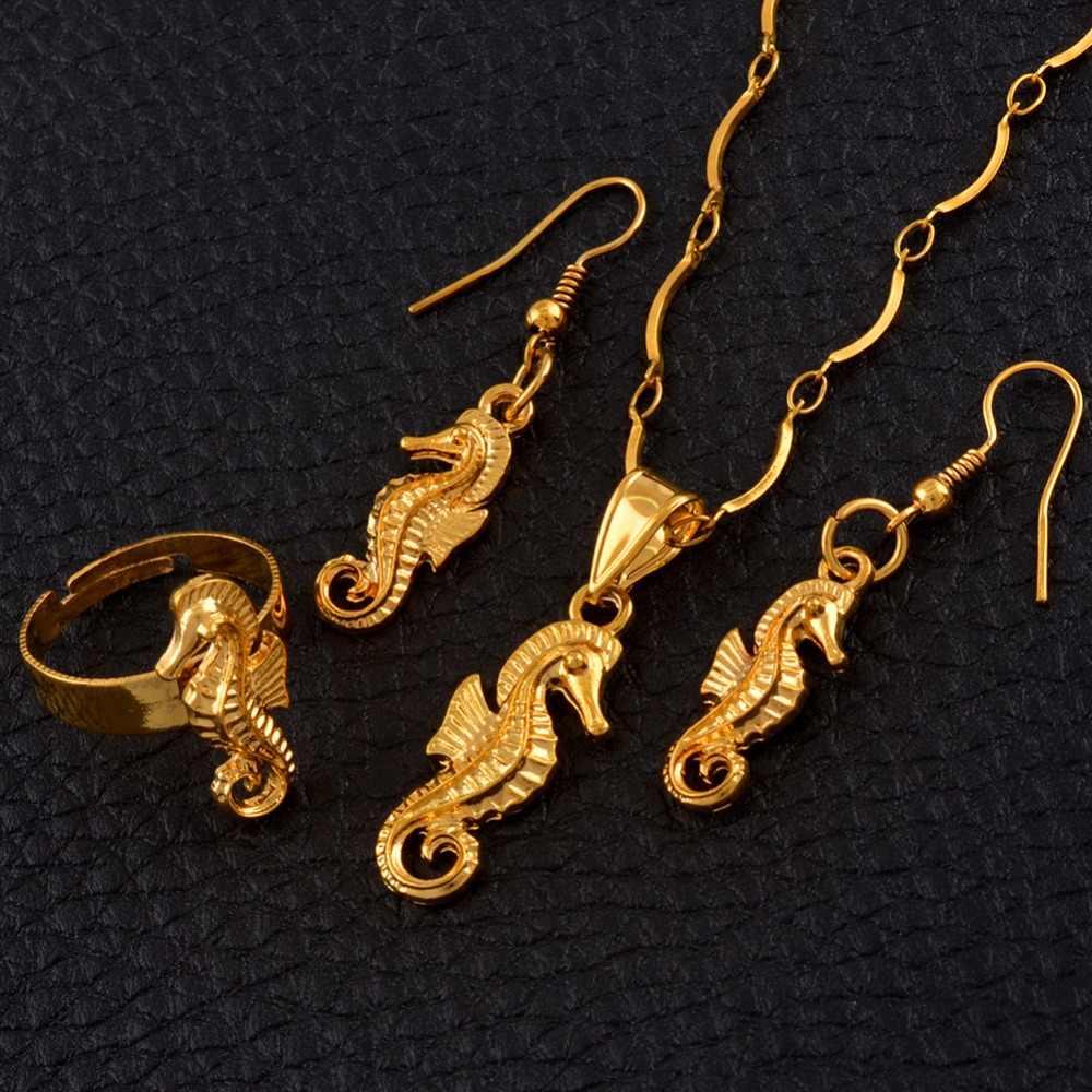 Anniyo Hippocampus เครื่องประดับชุดสัตว์น้ำทองสี PNG Seahorse เครื่องประดับของขวัญ #119306