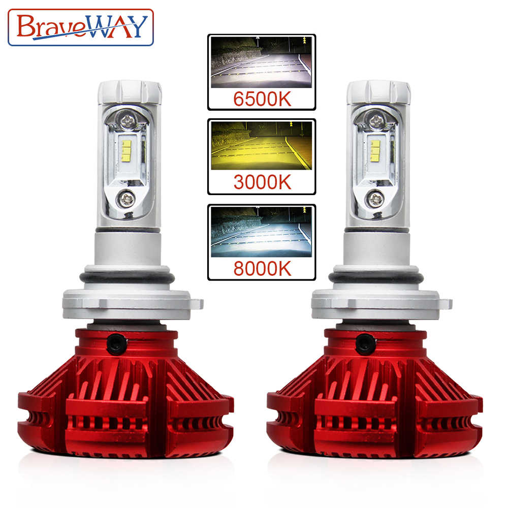 BraveWay 3000K/6500K/8000K Led Headlight H7 LED H8 H4 H11 9005 HB3 9006 HB4 Dual LED Auto Lamp Multiple Color Fog Lights