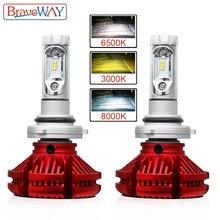 BraveWay 3000 K/6500 K/8000 K Z. ES Chip Ha Condotto il Faro H7 LED H4 H11 9005 HB3 9006 HB4 Dual LED HA CONDOTTO LA Lampada Più di Temperatura di Colore