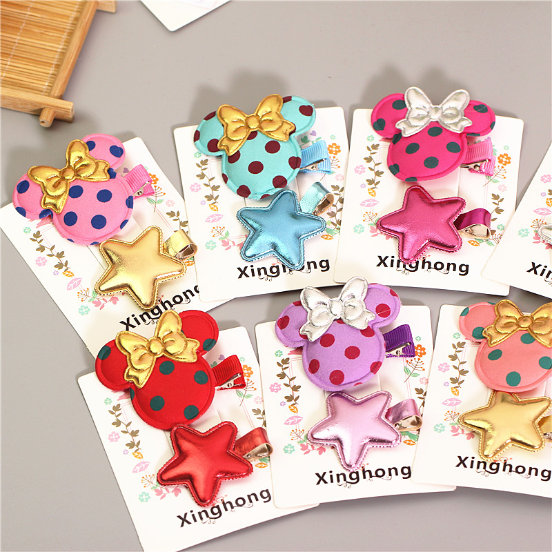 New cute character hairpin sets for little girl bowknot dot pattern hair