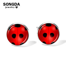 SONGDA Novelty Lady Bug Girl Cufflinks Miraculous Ladybug Glass Picture Cabochon Shirt Cuff Links Gemelos Cosplay Anime Jewelry(China)