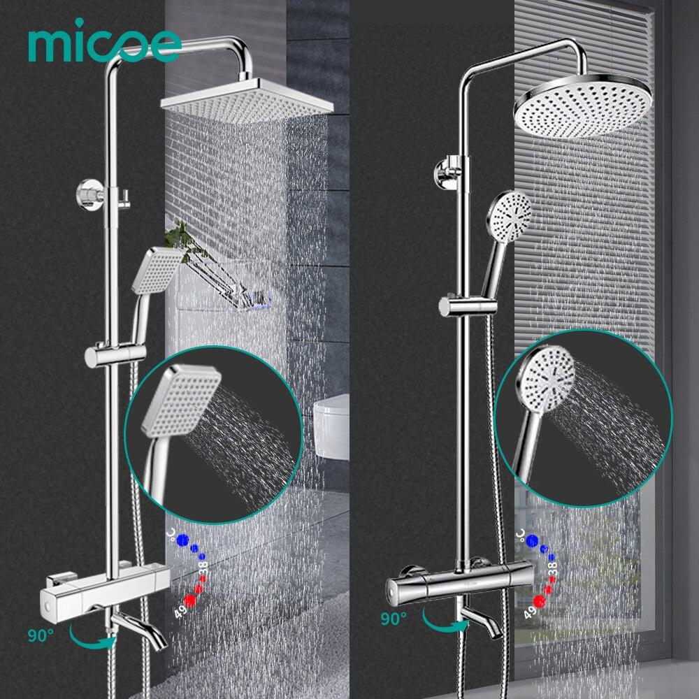 MICOE Ванная комната хромированный Термостатический смеситель для душа набор контроля температурыShowerSystem Shower hand 5 режимов