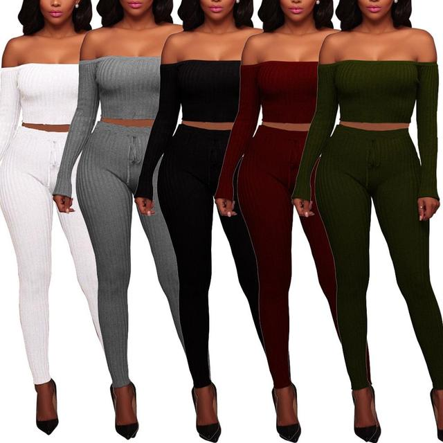 3428c525f26 Solid Color Sexy Women Elastic Rib Slim Crop Top Long Pants Night Club  Outfit party night female clothing