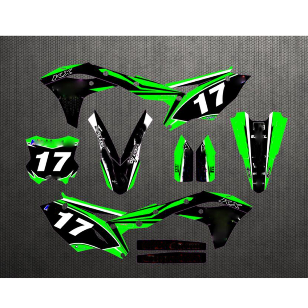 2017   2018 For Kawasaki KX250F Free Customized Number 17 Graphics & Backgrounds Motocross Stickers Kit Decal KXF250 KXF 250-in Decals & Stickers from Automobiles & Motorcycles    1