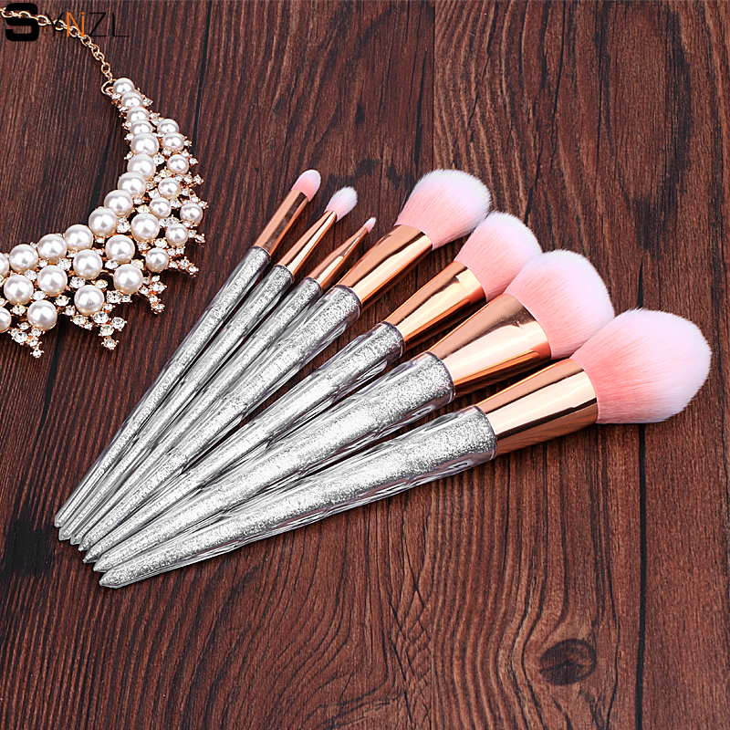 7pcs Professional Makeup Brushes Set Silver Glitter Clear Plastic Handle Pink hair Powder Foundation Tools cosmetic brush kits 7 pcs rainbow glitter ombre makeup brushes set