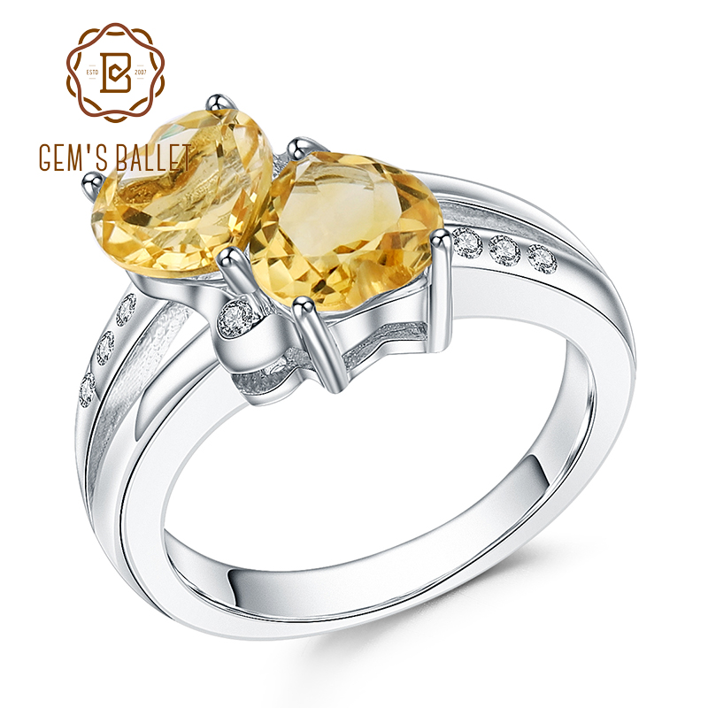 GEM'S BALLET 925 Sterling Silver Double Hearts Of Love 2.39Ct Natural Citrine Gemstone Rings For Women Valentine's Day Jewelry