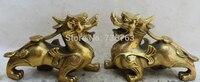 001125 6.5 Chinese Fengshui Brass animal Unicorn Beast Pi Xiu sculpture Statue pair