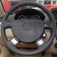 leather hand Top Leather Steering Wheel Hand-stitch on Wrap Cover For Chevrolet Lova Aveo Buick Excelle Daewoo Gentra 2013-2015 Lacetti 06-12 (1)