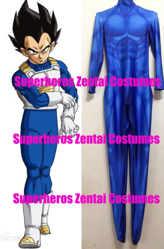 Vegeta Cosplay Costume 3D Printed Dragon Ball Z movies Vegeta Super Saiyan Fighting Uniform Lycra Blue