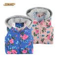 New Children Outerwear Baby Girl Fashion Brand Floral Printed Hooded Casual Thick Warm Winter/Autumn Vest Coat Kids Waistcoat