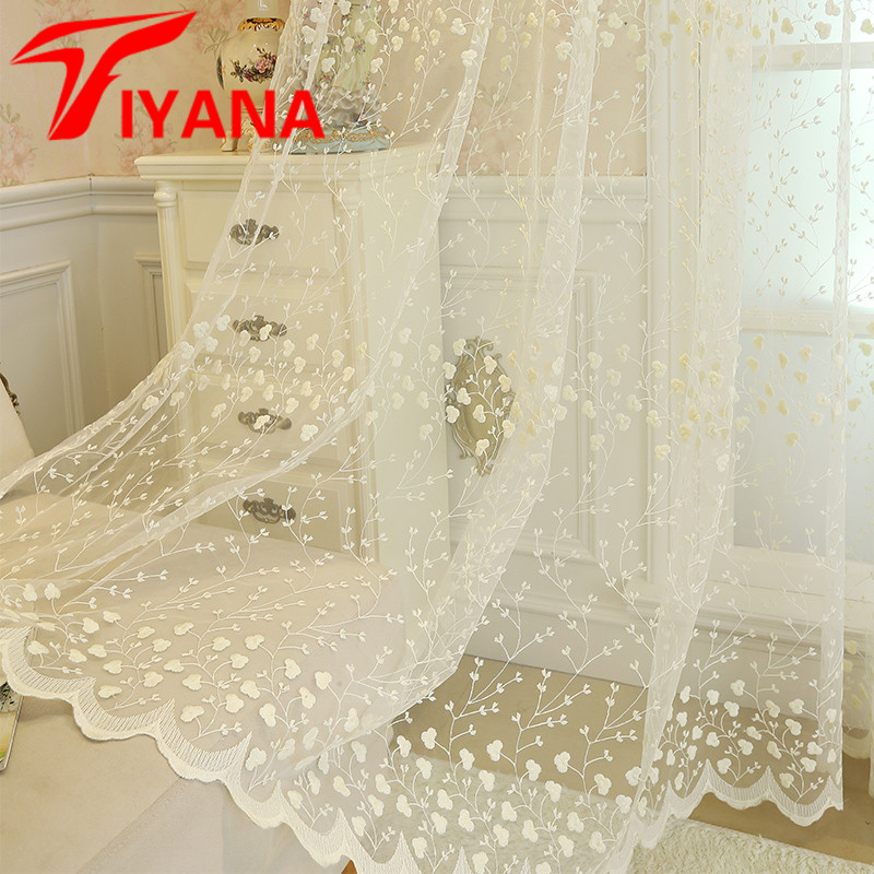 Embroidery Flowers Lace Curtains For Living Room Bedroom