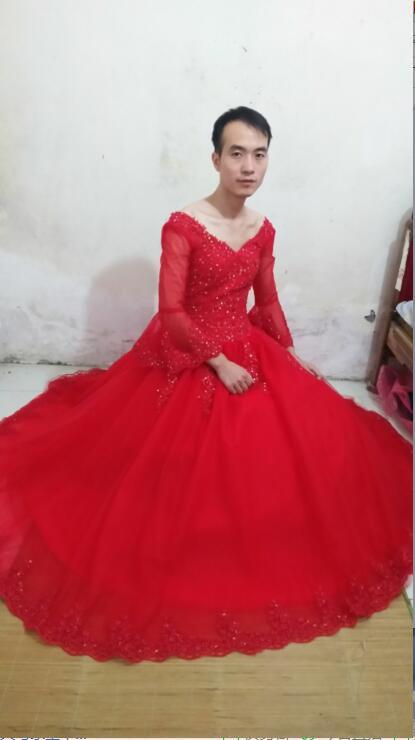 2016 новый дизайнер бальное платье красное свадебное платье кружева аппликации 3/4 рукава свадебные платья скромные бисером платья невесты лучшие продажи