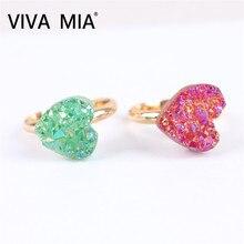 Natural Stone Rings for Women Heart Shape agates Finger Ring Purple Pink Quartz Jewelry