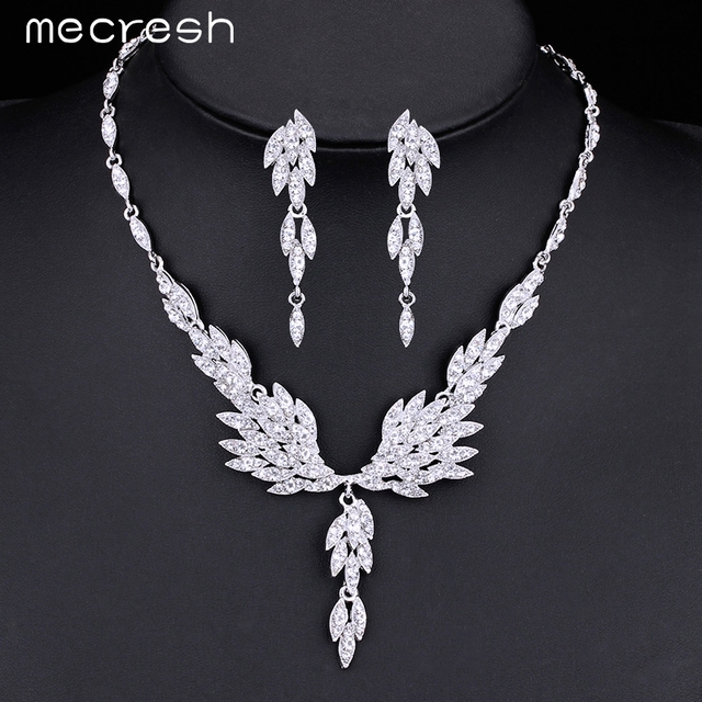Gorgeous Eagle Shape Crystal Bridal Jewellery Set Silver Plated Earrings & Necklace