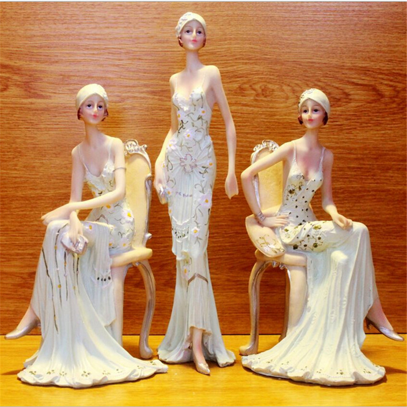 Beautiful Girl Creative Gifts Resin Ornaments Artificial Home Decor Miniature Girl Figurines Wedding decoration