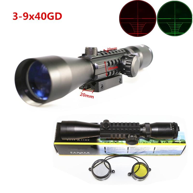 ФОТО FIRECLUB Free shipping hunterking Optics 3-9X40 Red & Green Illuminated Hunting Tri Weaver Rail Airsoft Rifle Gun Scope
