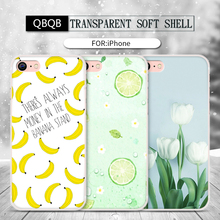 For iPhone 5 5S SE 6 6S 7 plus Phone Bag Case Soft Silicon Back Cover Colorful lemon flower painting Cute banana pattern Cartoon