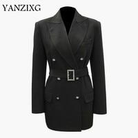 Women Blazer Diamond Button Womens Blazers Long Sleeve Women Jaket Belt Slim Thin Suit Coat All Match Woman Tops Z047