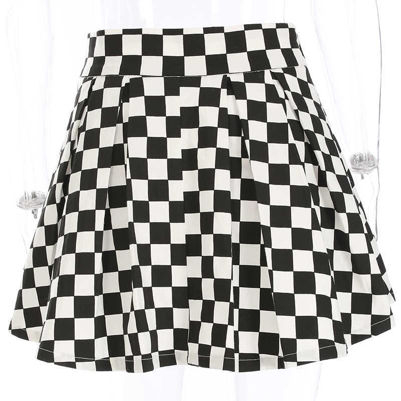 Sweetown Koreanische Mode Schachbrett Plissee Röcke Frauen Schärpen Hohe Taille Zipper Baumwolle Kurzen Rock Frau Sommer 2020 Röcke